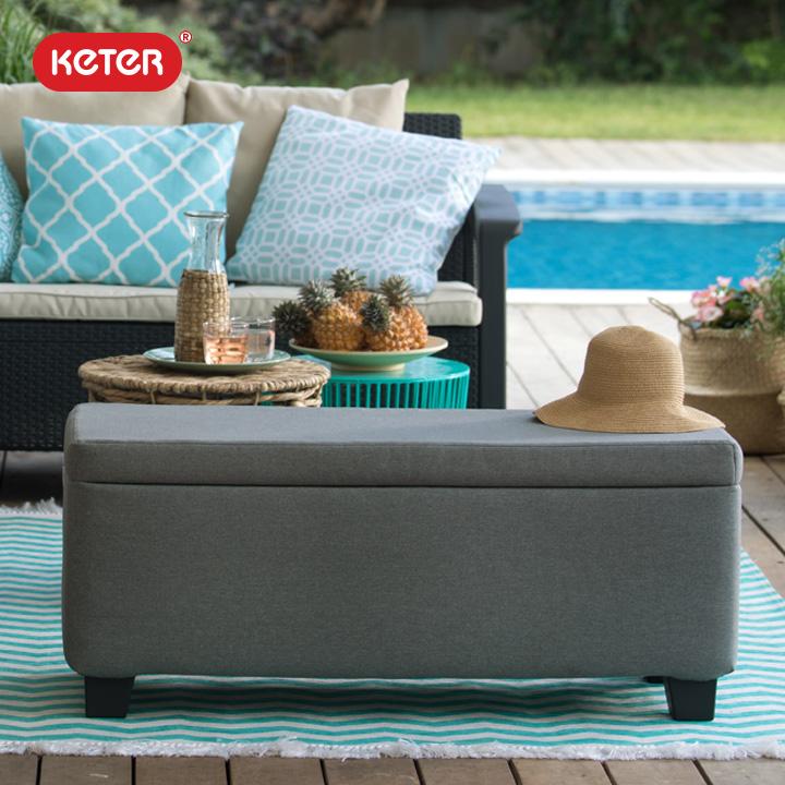 布張りクッションタイプ収納付きスツール「ケター (KETER) ミラン ガーデンストレージスツール」