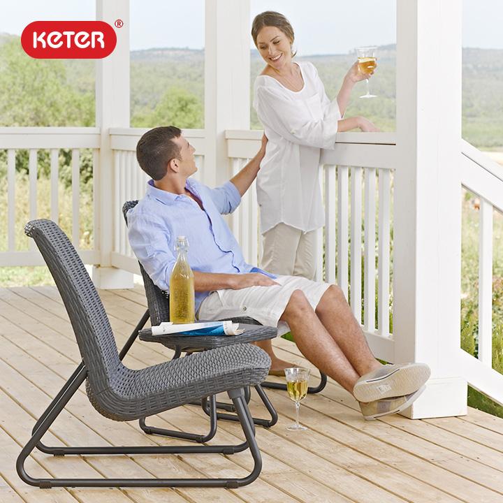 「ケター (KETER) リオ バルコニー ガーデンチェア&サイドテーブル 3点セット」