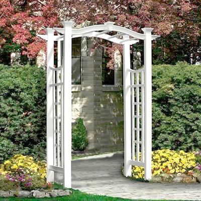 庭用ガーデンアーチ「ホワイトフェンス シリーズ リスボンアーチ ※組立式」