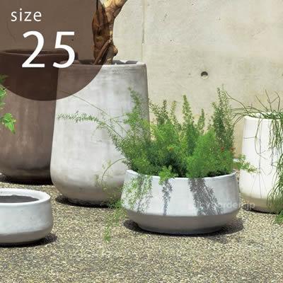 CLAYPOT クレイポット Low Drop Round 25 大型植木鉢 :45L 対応鉢14号