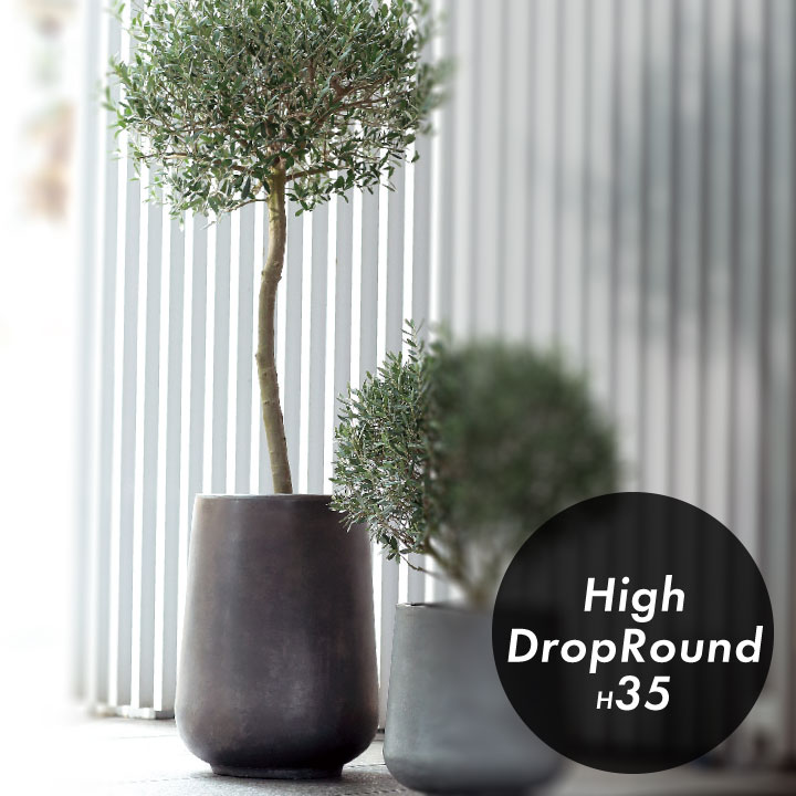 CLAYPOT クレイポット High Drop Round 35 植木鉢:14L 5.5号鉢対応