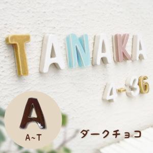 陶器の可愛い文字表札 「Puffy Sign パフィーサイン アルファベット ダークチョコ(A〜T)」
