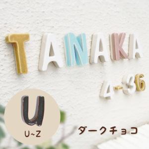 陶器の可愛い文字表札 「Puffy Sign パフィーサイン アルファベット ダークチョコ(U〜Z)」