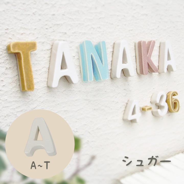 陶器の可愛い文字表札 「Puffy Sign パフィーサイン アルファベット シュガー(A〜T)」