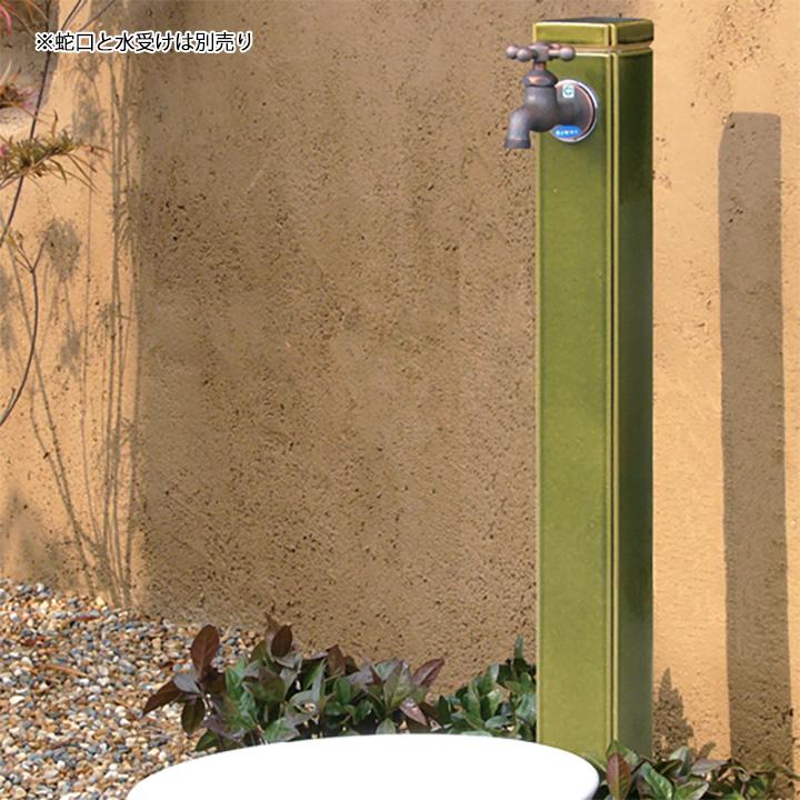 【ガーデン立水栓 和風】陶器の立水栓 角<配管入り>