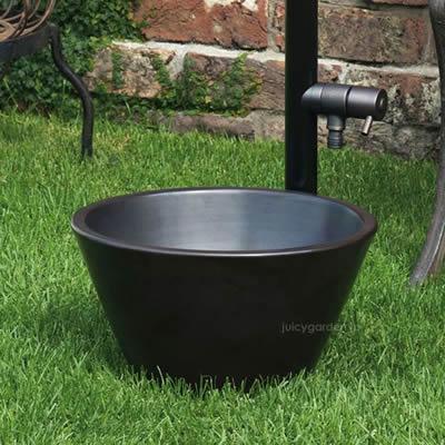 ミニサイズのガーデンパン「ガーデンポット ブラック」水受け 水鉢