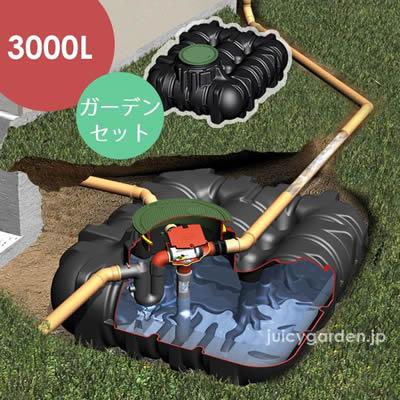 【地下埋設型 雨水タンク】アンダータンク 3000L <ガーデンセット>