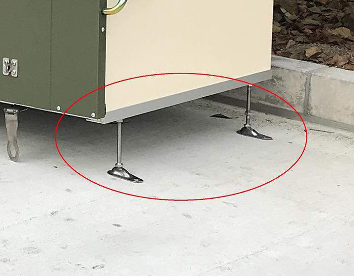 屋外物置 傾斜 脚「メタルシェッド TM3用 アジャスターセット」