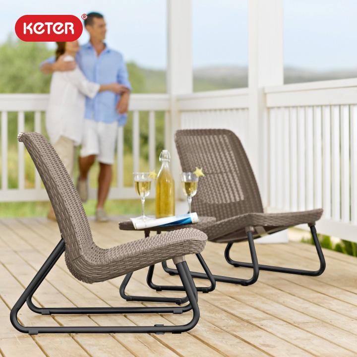 ケター (KETER) リオ バルコニー ガーデンチェア&サイドテーブル 3点セット