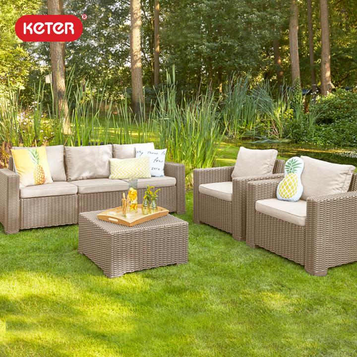 ケター (KETER) カリフォルニア 3人掛けガーデンソファー・テーブル 4点セット