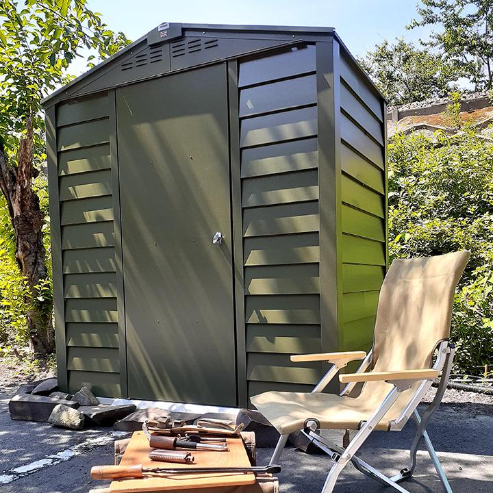 収納 シングルドア 屋外物置「メタルシェッド TM6 SD アペックスルーフ」