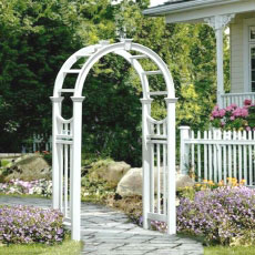 樹脂製ガーデンアーチ「ホワイトフェンス シリーズ ロマネスクアーチ ※組立式」