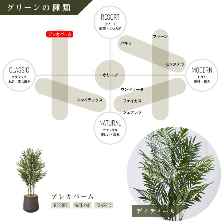 グリーン×プランターセット「w/g アレカパーム×Drop Round」[高さ140cm・人工樹木・人工観葉植物]