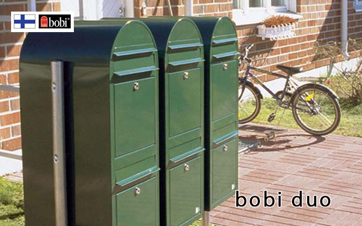 二世帯ポスト 「Bobi ボビ社製 郵便ポスト ボビデュオ (前入れ前出し)」
